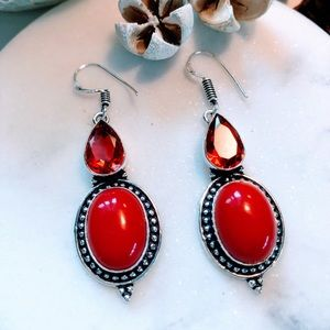 Coral with Garnet 925 Silver Earrings